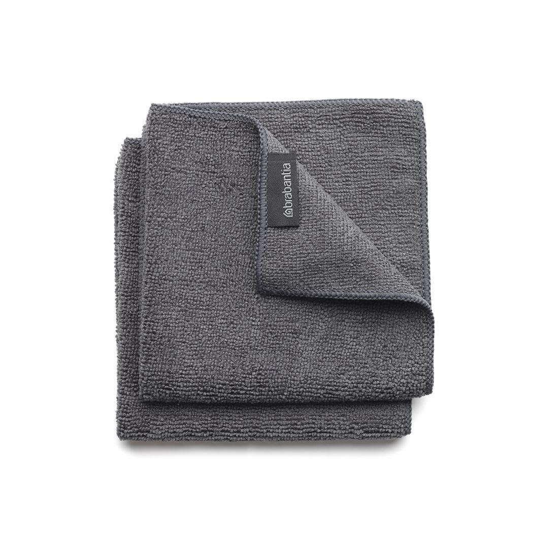 brabantia microvezel schoonmaakdoekjes (2sts) dark grey