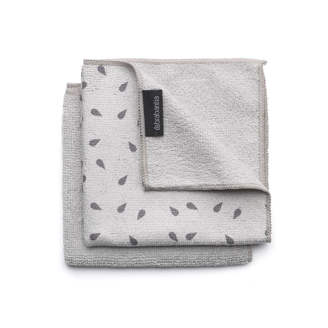 brabantia microvezel schoonmaakdoekjes (2sts) light grey