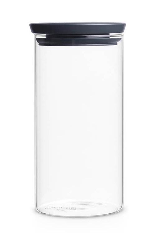 brabantia stapelbare glazen voorraadbus dark grey