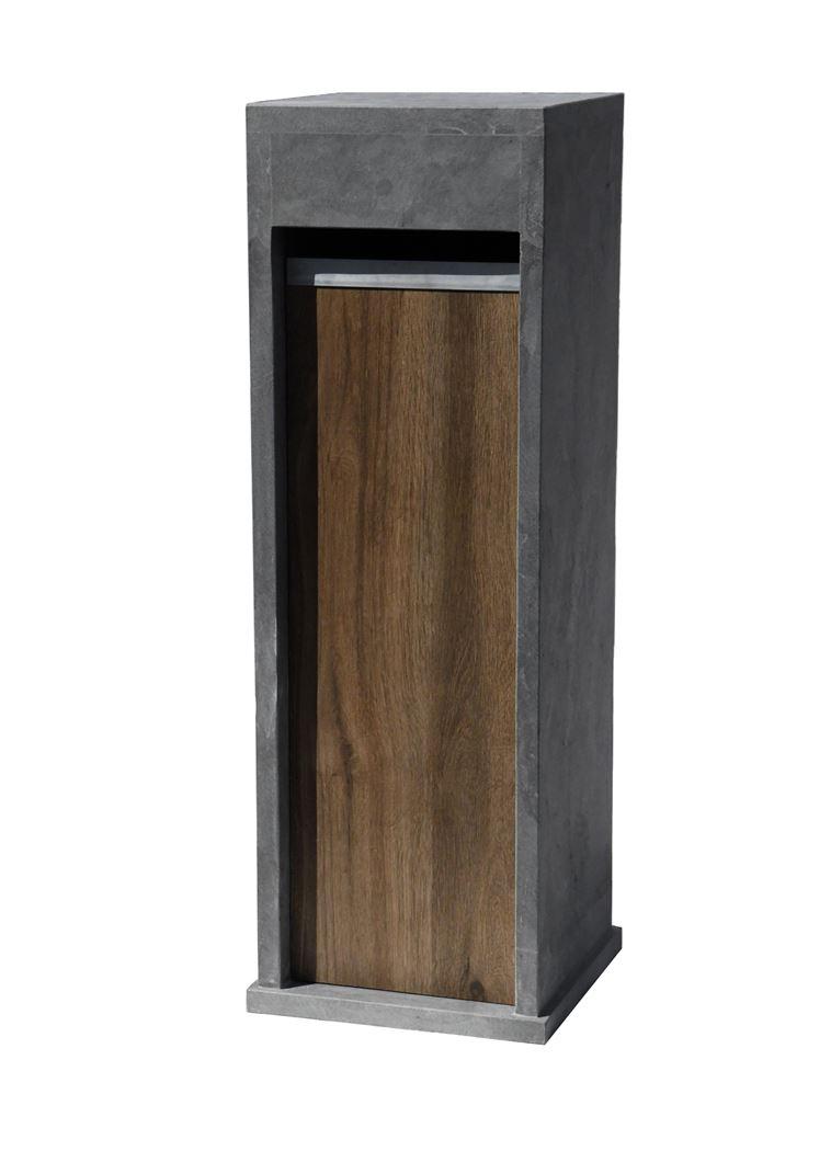 brievenbus blauwe steen met voorzijde keramische tegel houtlook donker