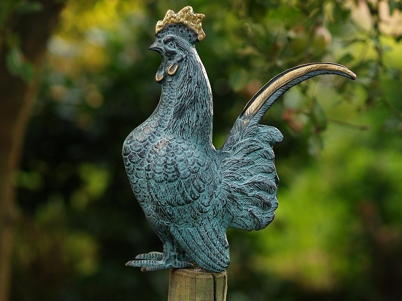 bronzen beeld - haan