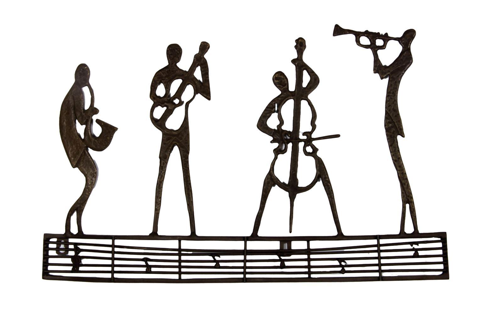 bronzen beeld - muurdecoratie jazz club