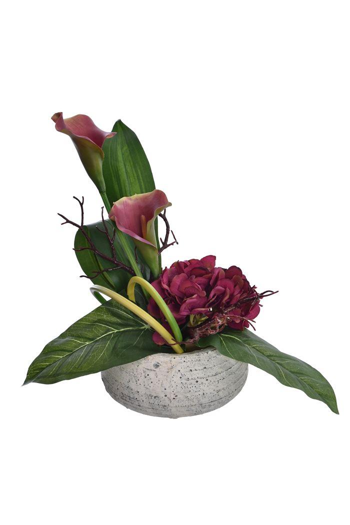 calla hydrangea arrangement in pot burgundy