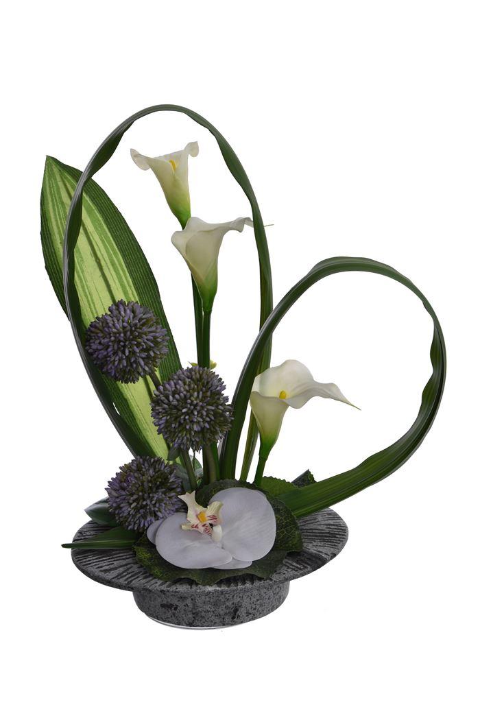 calla/allium/orchid arrangement in pot cream