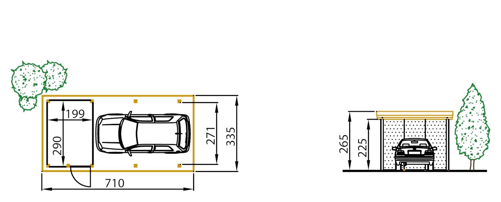 carport grenen c410 + berging