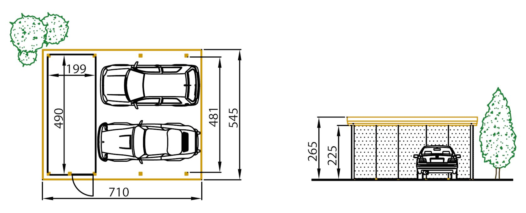 carport grenen c420 + berging