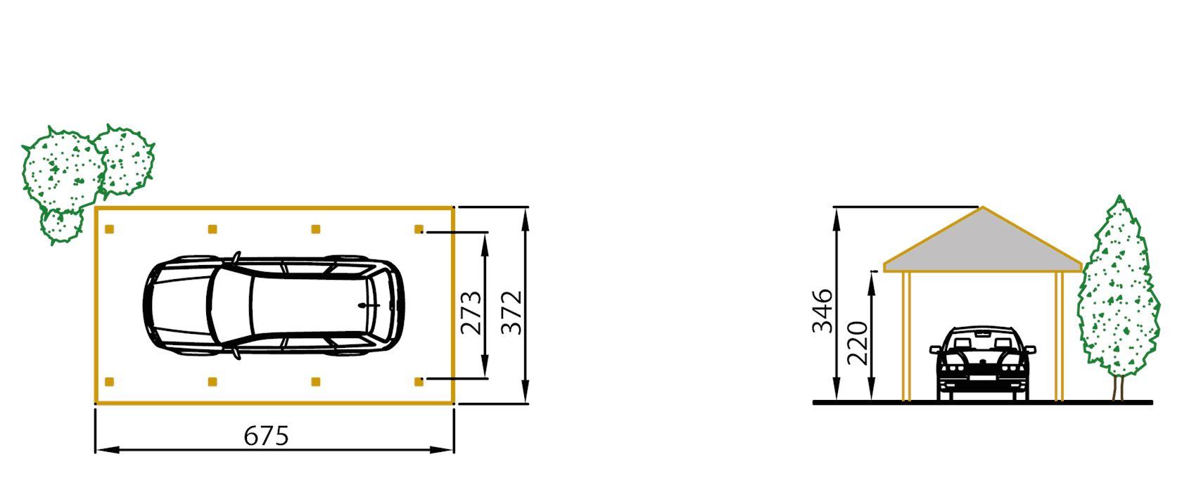 carport met zadeldak z410