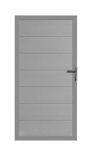 composiet deur antraciet met vast frame en antracietkleurige planken