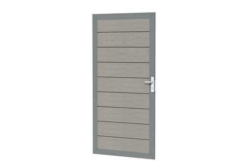 composiet deur in aluminium frame grijs