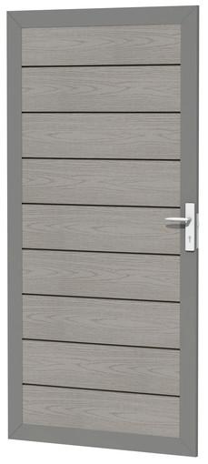 composiet deur in aluminium frame houtmotief grijs