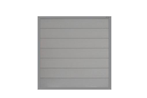 composiet scherm grijs met vast frame en grijskleurige planken
