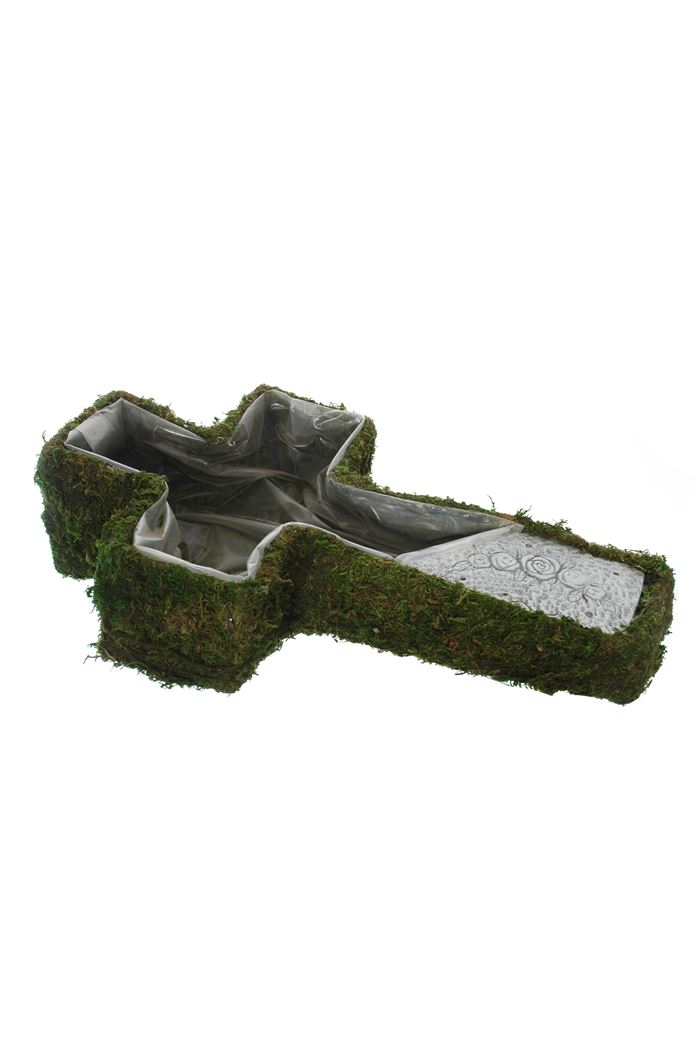 cross planter w/moss and stone cream