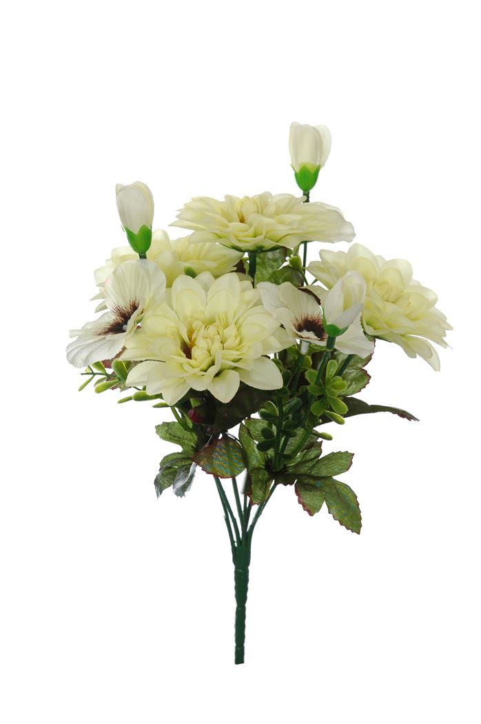 dahlia/pansy bush x 7 cream green