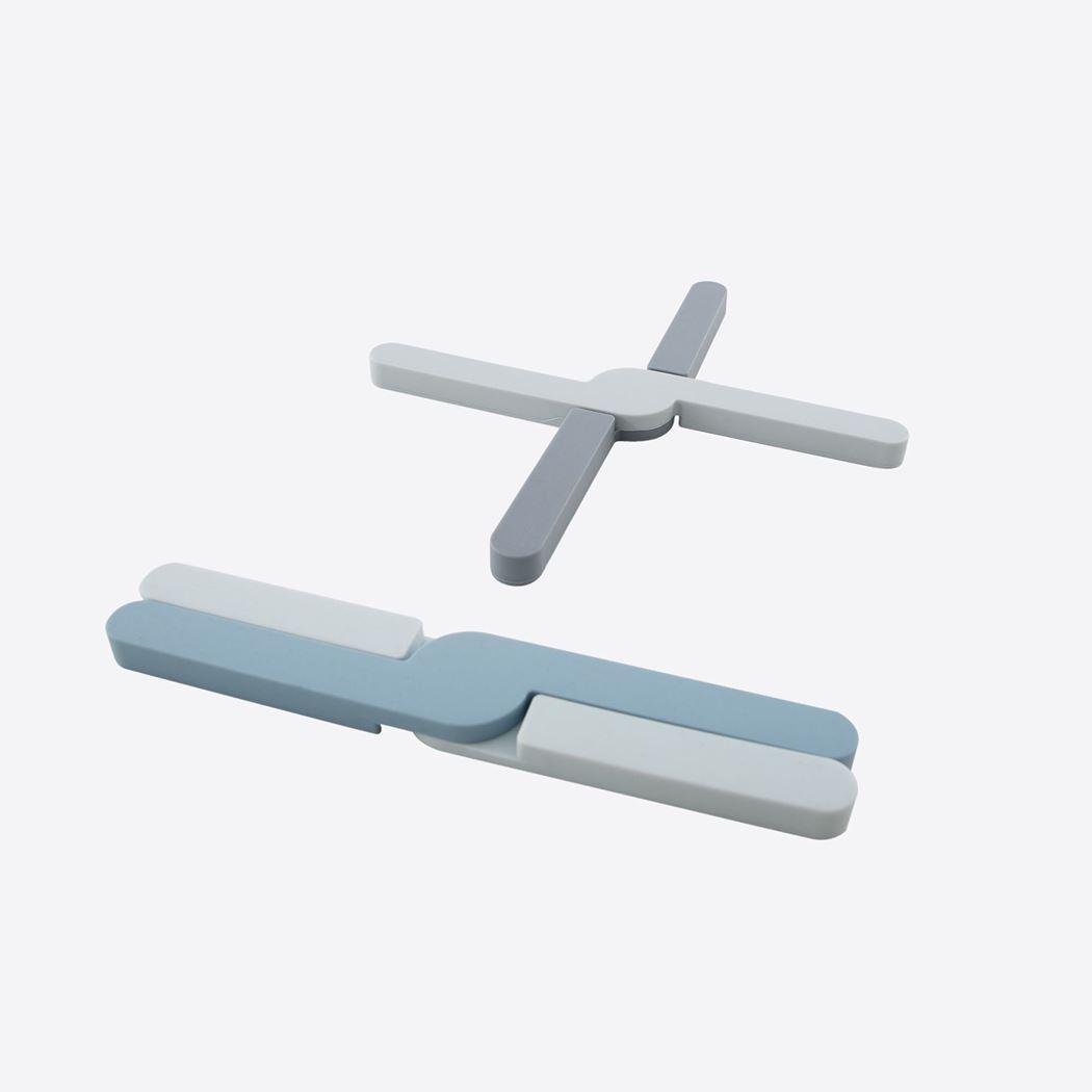 dotz opvouwbare panonderzetter uit silicone grijs of blauw