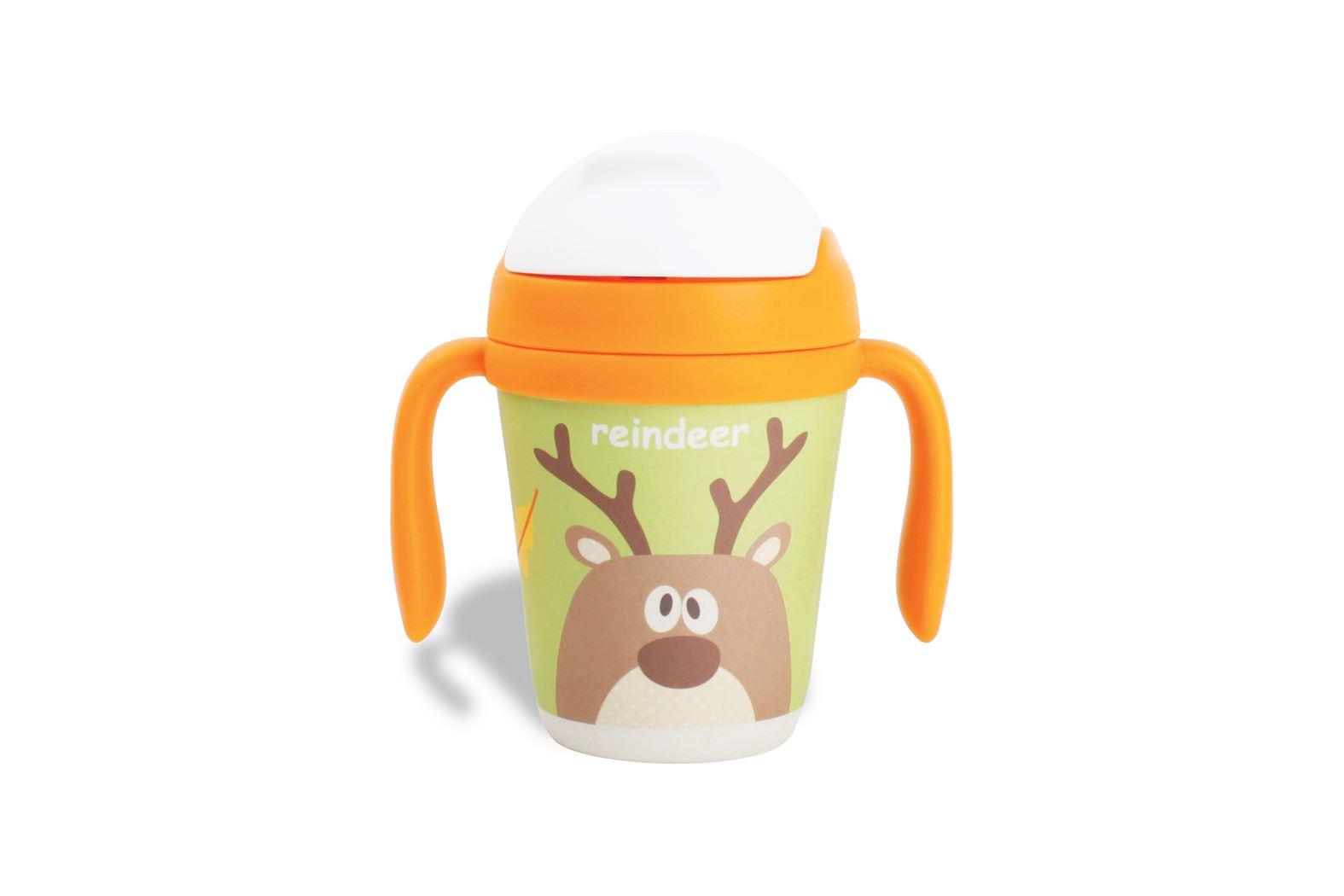 drinkbeker + rietje 2greep bamboevezel reindeer