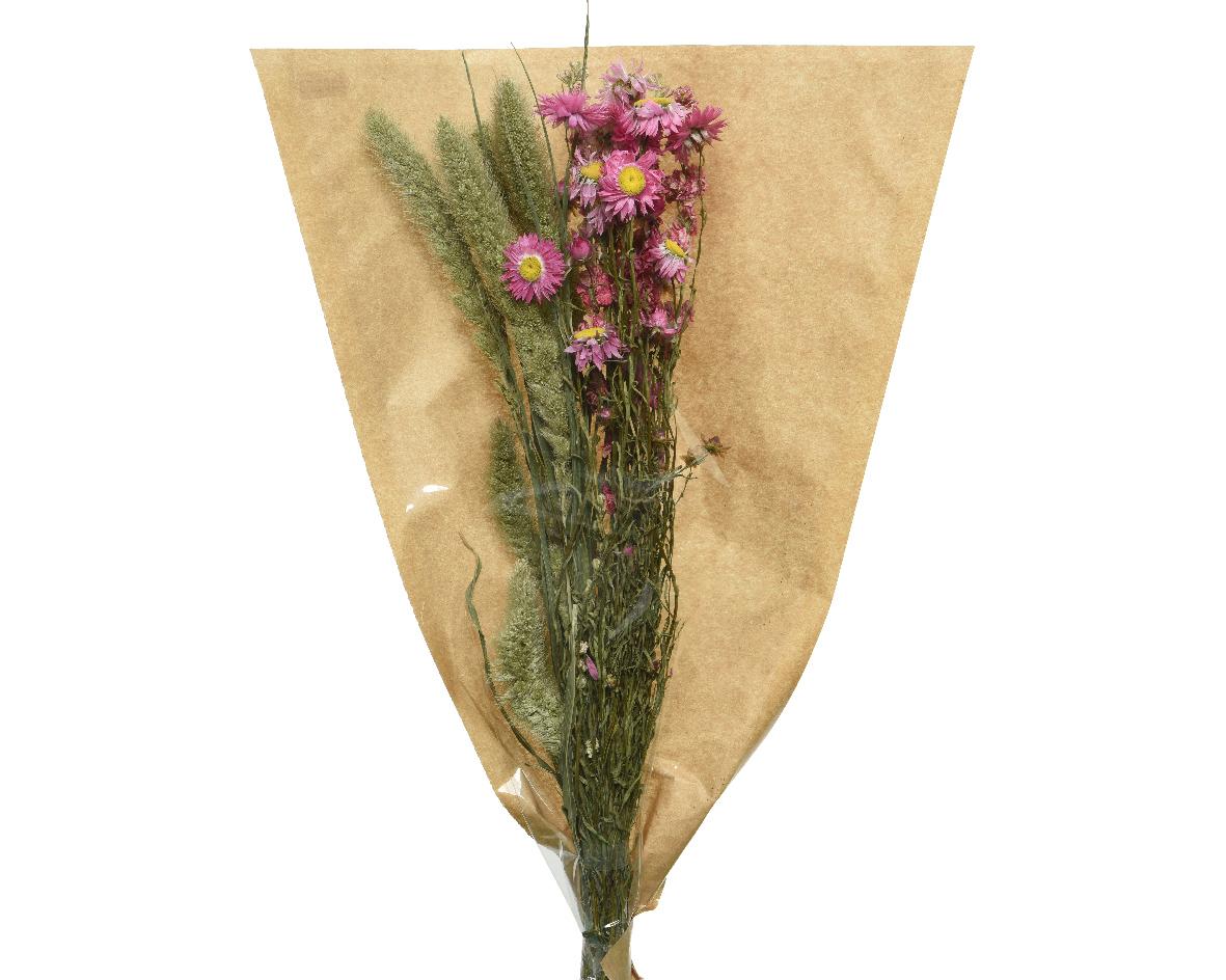 droogbloemen naturel mixboeket roze