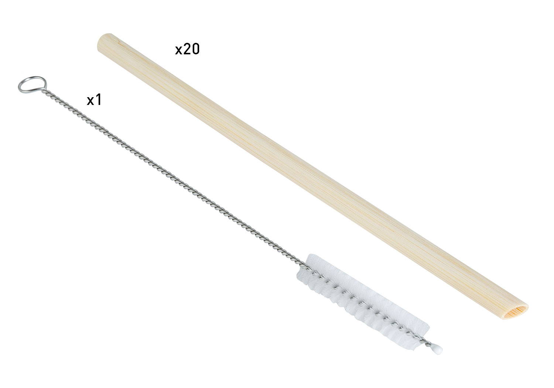 eco rietje (20sts) + 1 borstel bruin bamboe