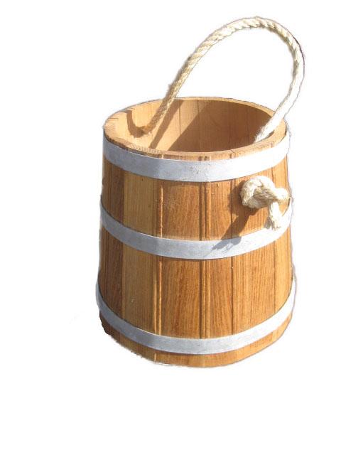 ej houten emmer met koord groot model