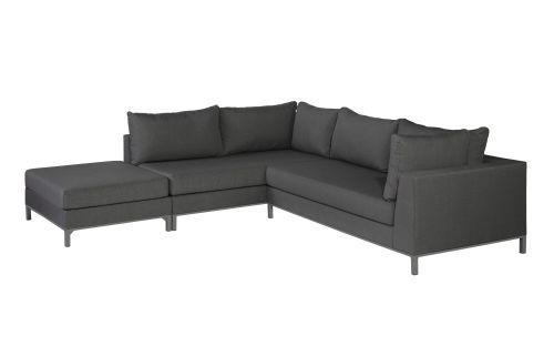 exotan sicilië lounge corner set left with hocker stone grey