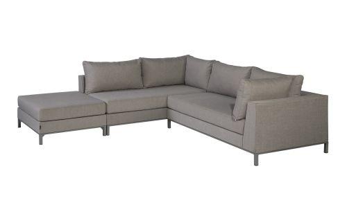 exotan sicilië lounge corner set left with hocker taupe