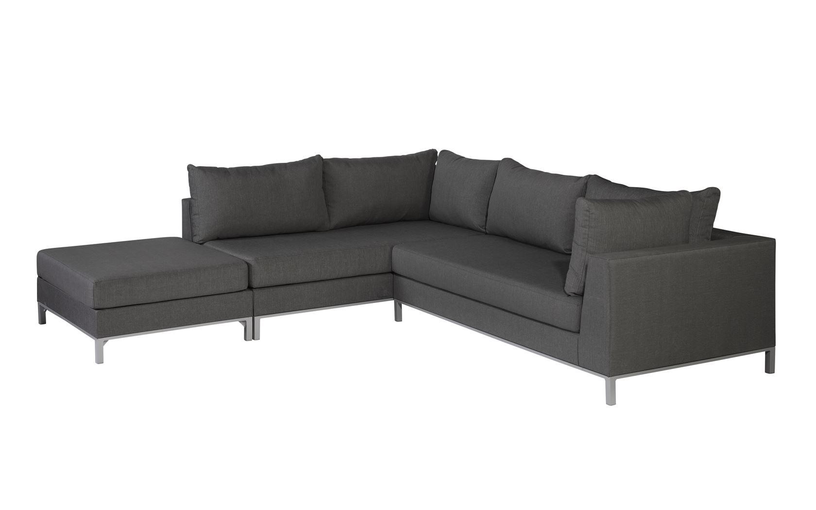 exotan sicilië lounge corner set left with hocker ash grey