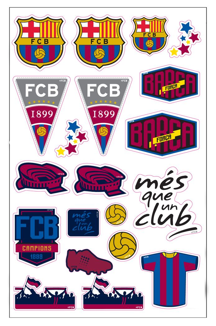 fc barcelona puffy stickers grafic