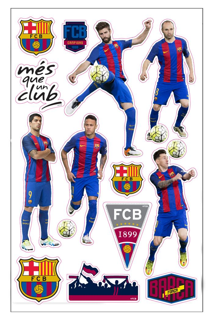 fc barcelona puffy stickers players
