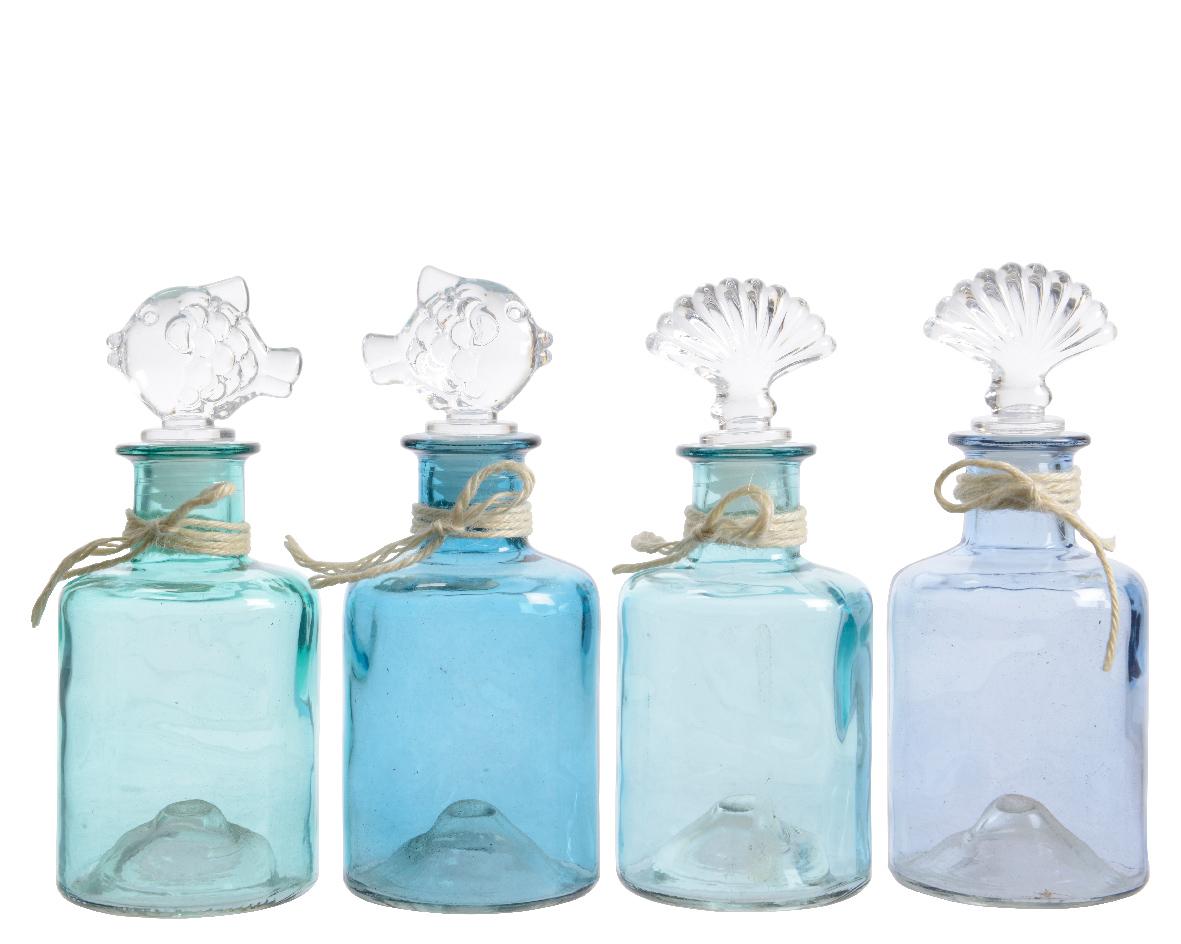 fles glas figuur stop (4 kleuren ass.)