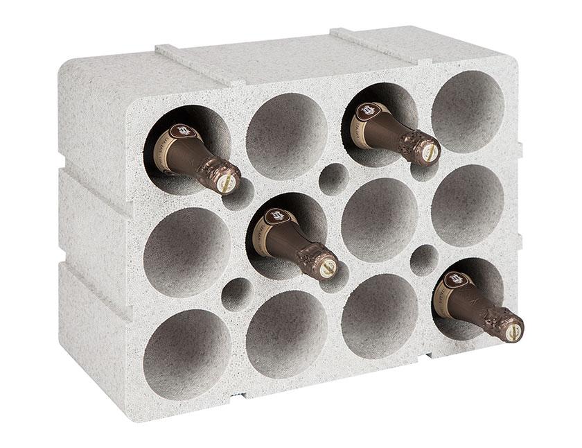 flessenrek voor 12 flessen polystyreen grijs