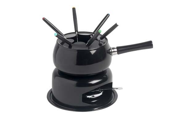 fondueset zwart pot met steel en 6 vorkjes
