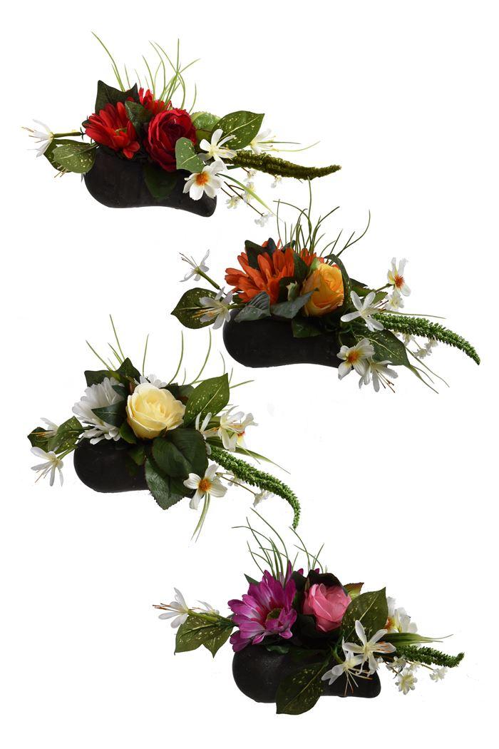 gerbera/rose bud arrangement in heart pot assorted
