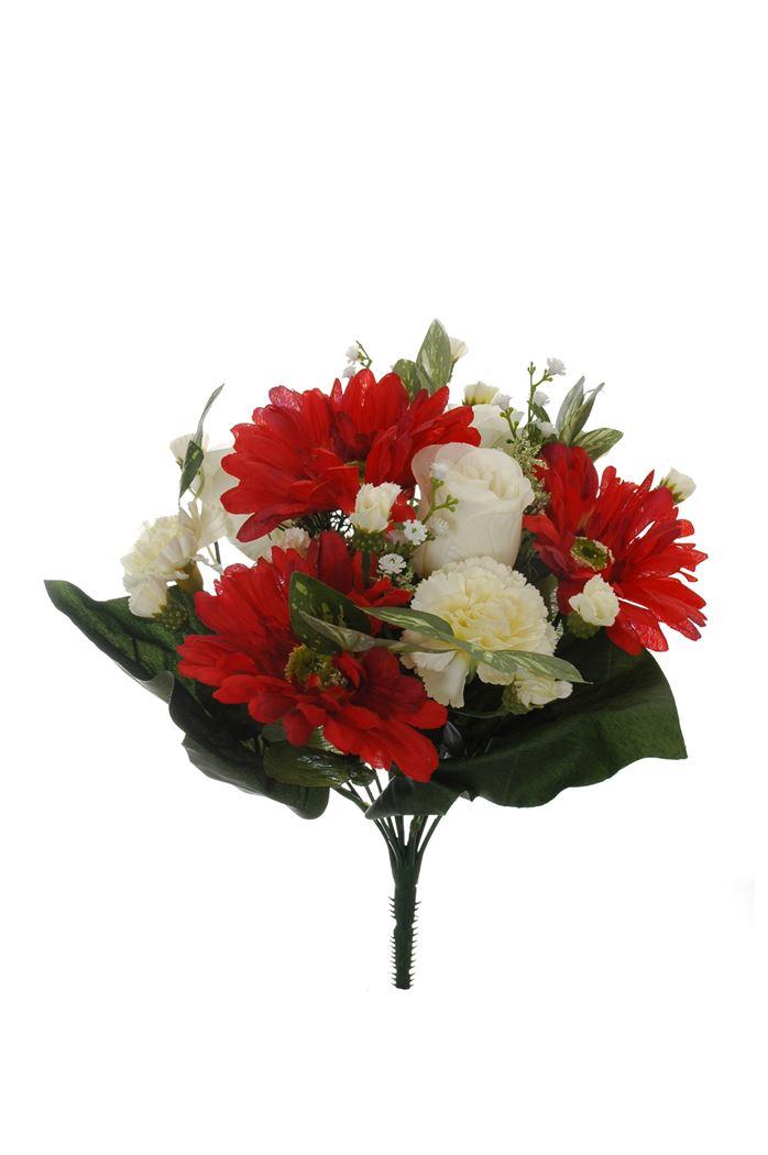 gerbera/rose bud/carnation bush x 13 red