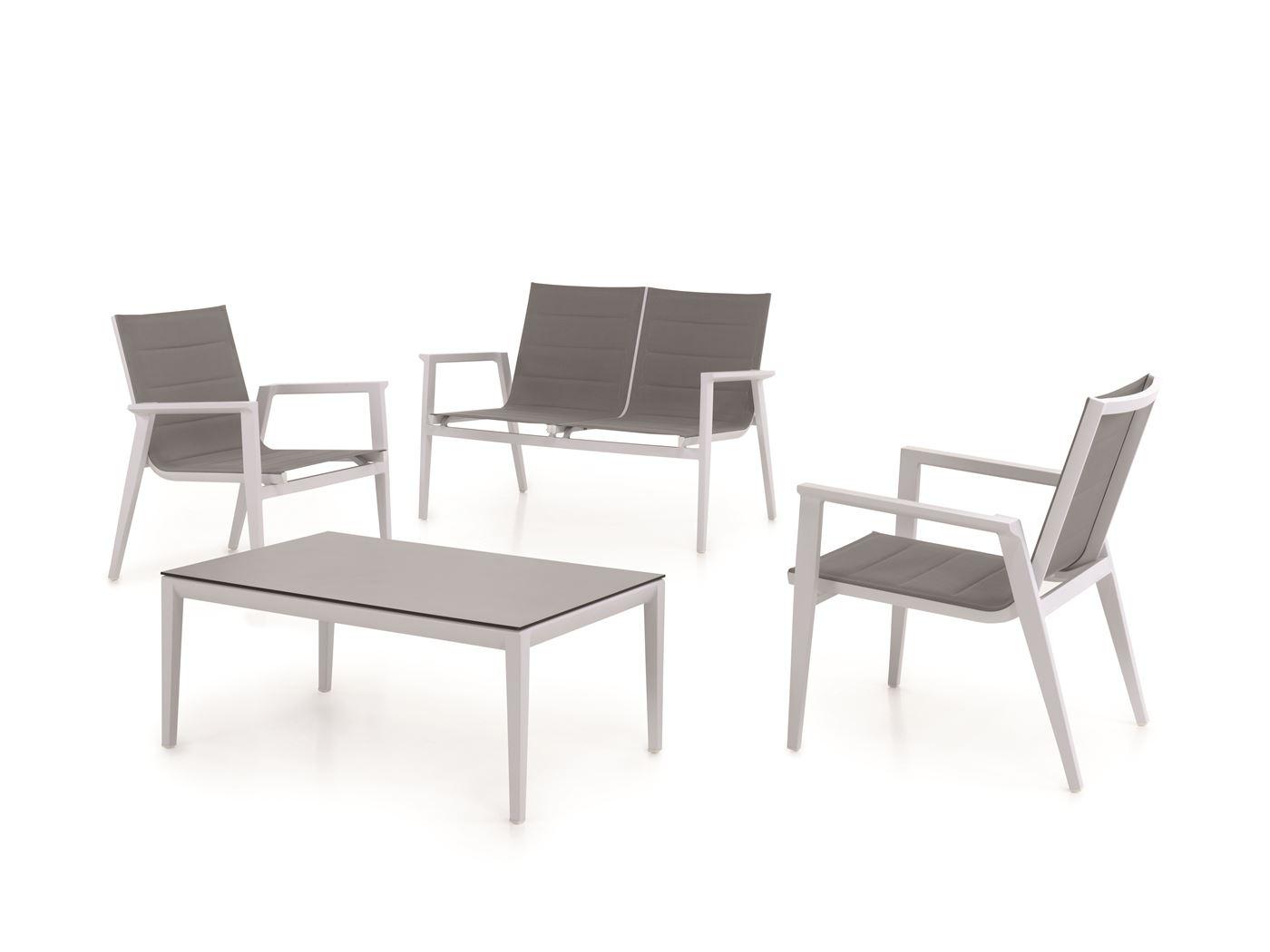 gescova aida lounge set alu white textylene grey light