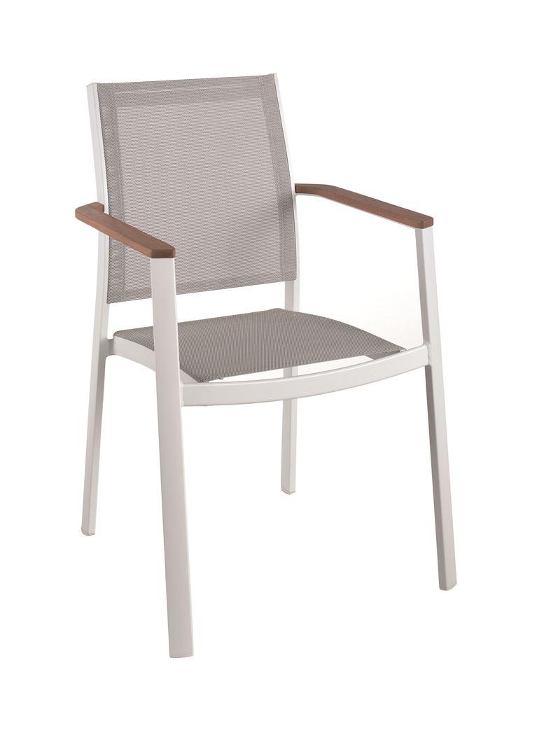 gescova bilbao stacking chair alu white teak arm