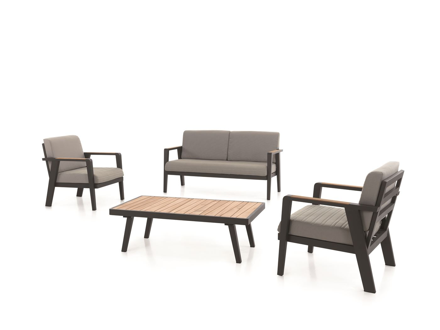 gescova guadeloupe lounge set alu charcoal + teak +cushion