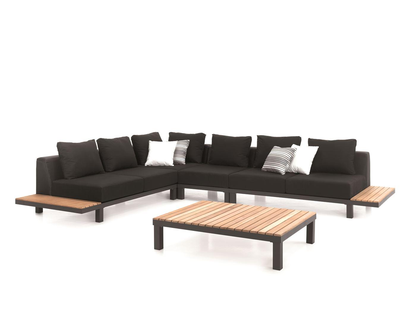 gescova hawai lounge set alu charcoal +teak + textylene bl
