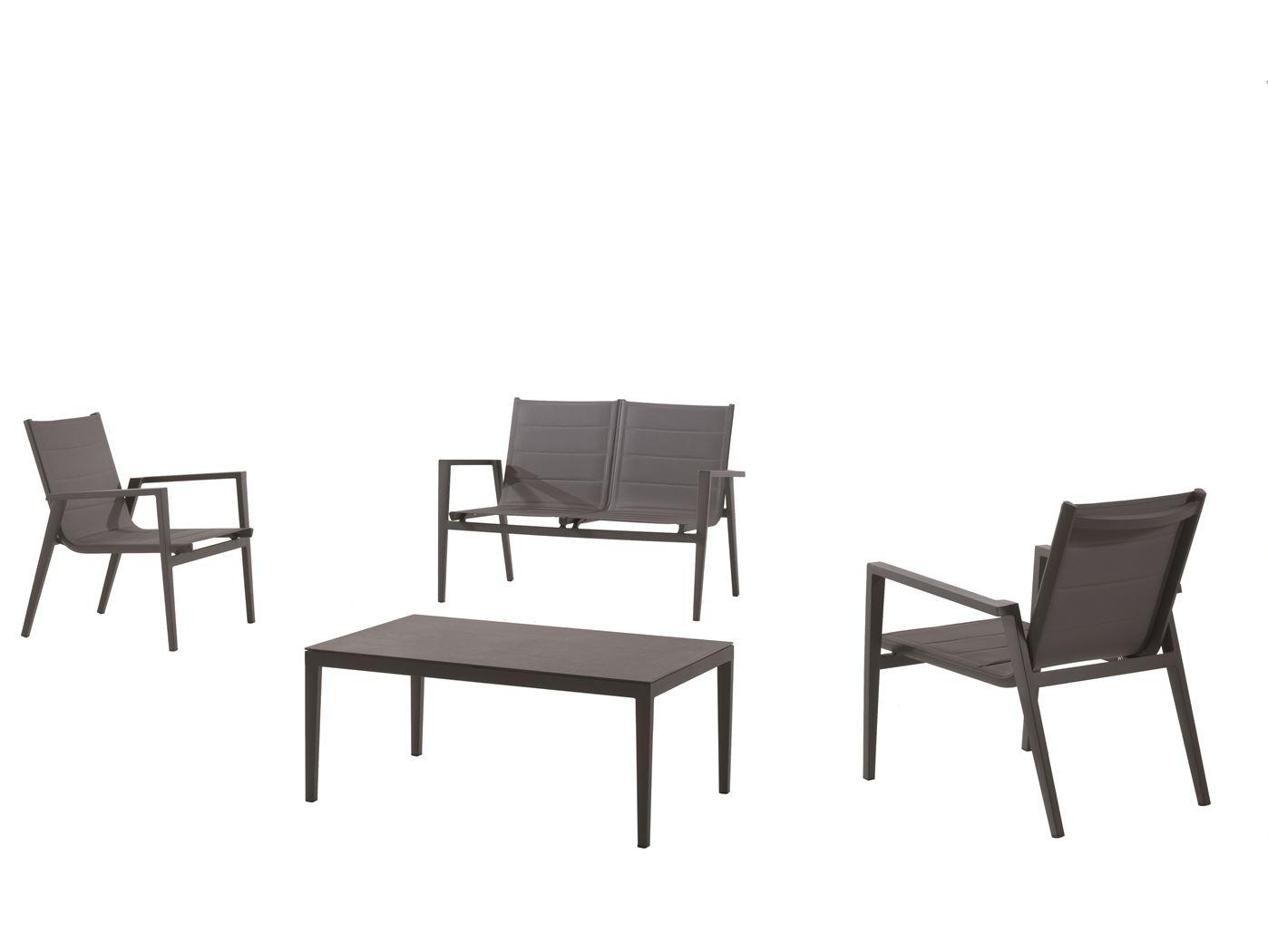 gescova kona lounge set alu charcoal textylene silver grey