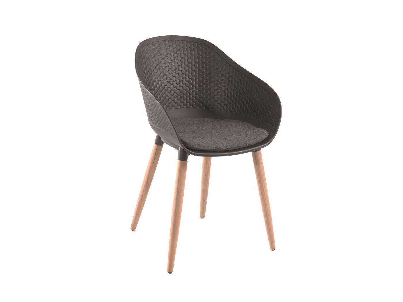 gescova kopenhagen design chair synthetic black+ teak legs