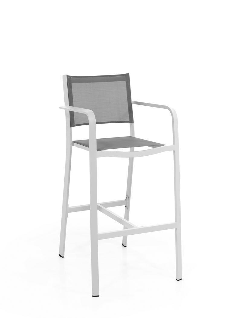 gescova levante bar chair alu white textylene grey light