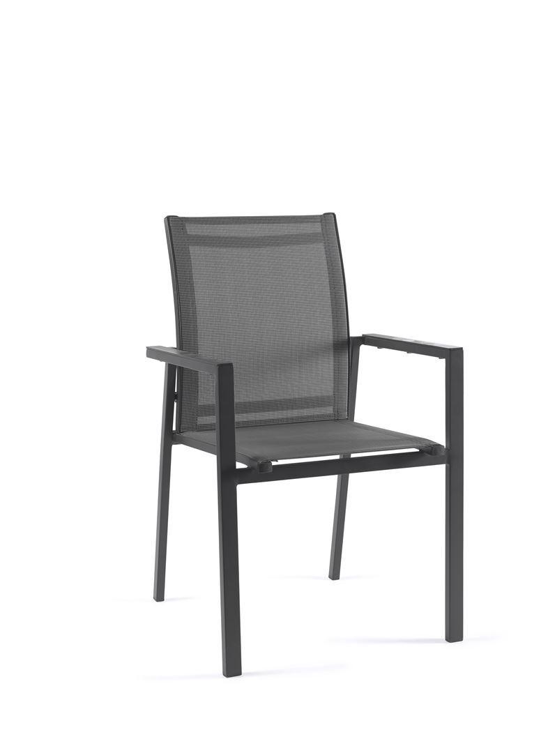 gescova madeira stacking chair alu charcoal mat textylene silver grey