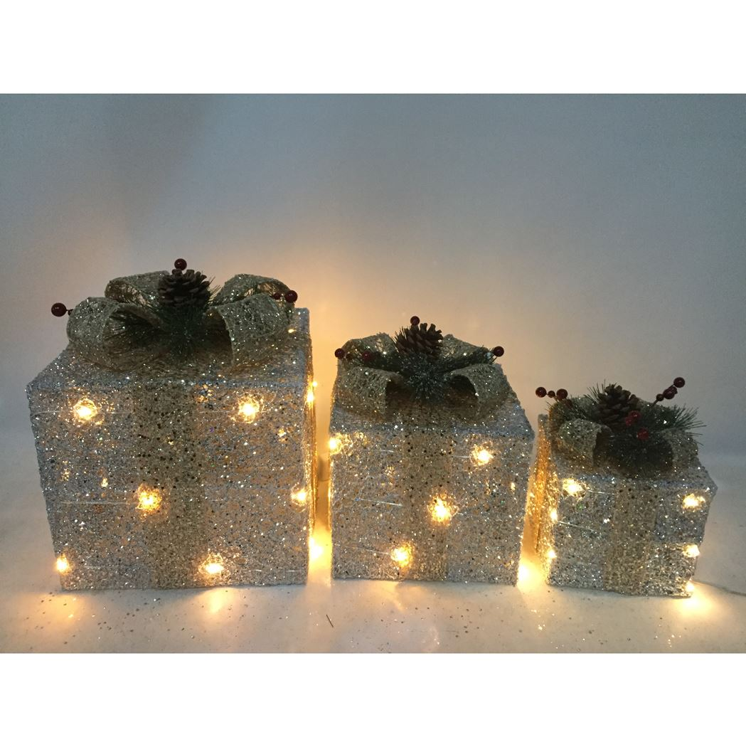 giftbox set with lights silver/gold led (3-delig)(b/o)