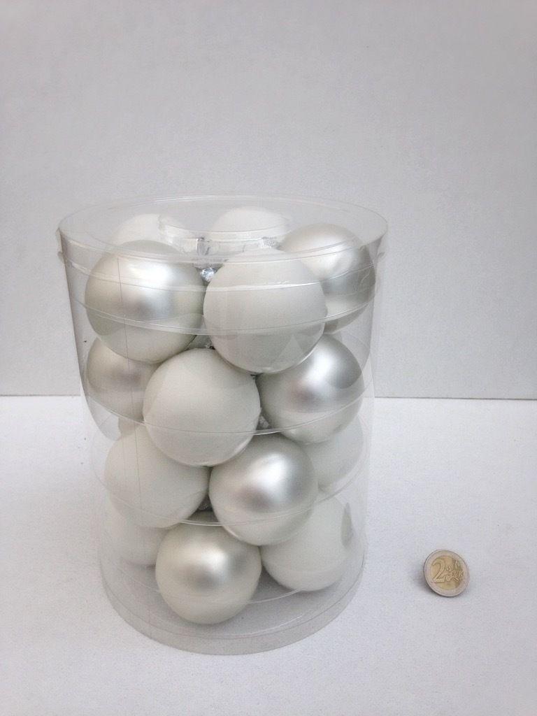 glazen bal met kraal met luxe dop frost (4ass.)