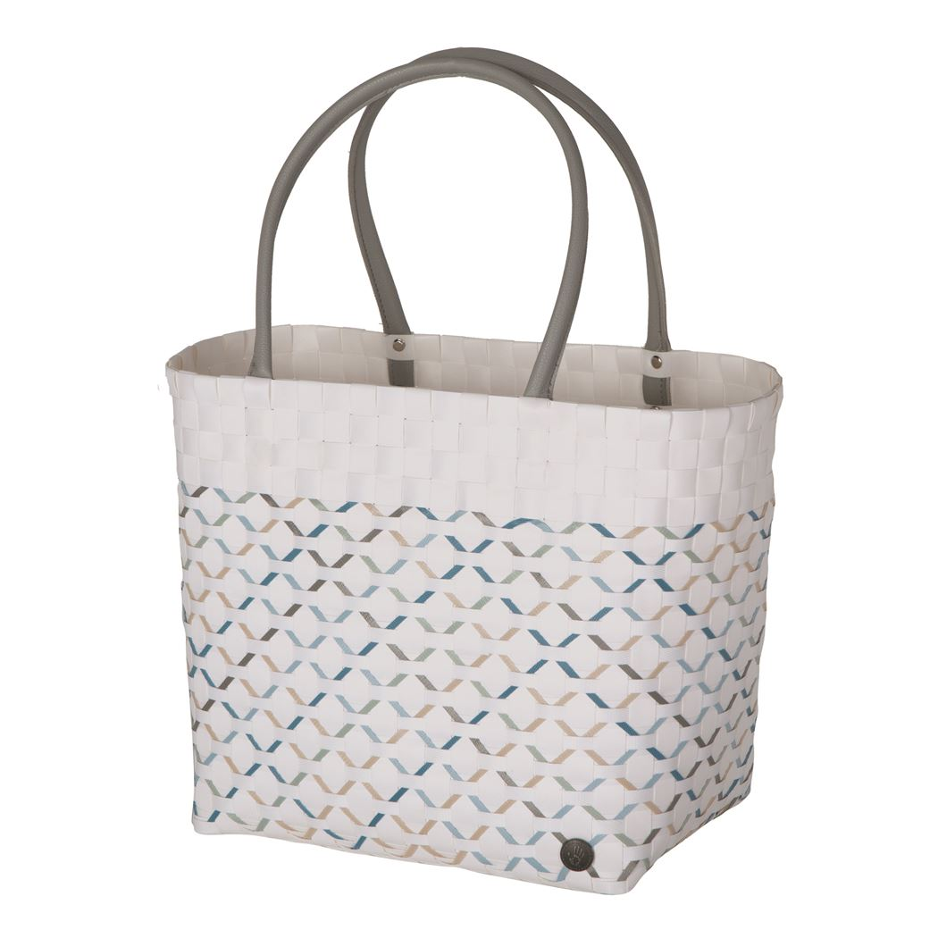 handed by allure shopper with pattern on white size l with long pu handles