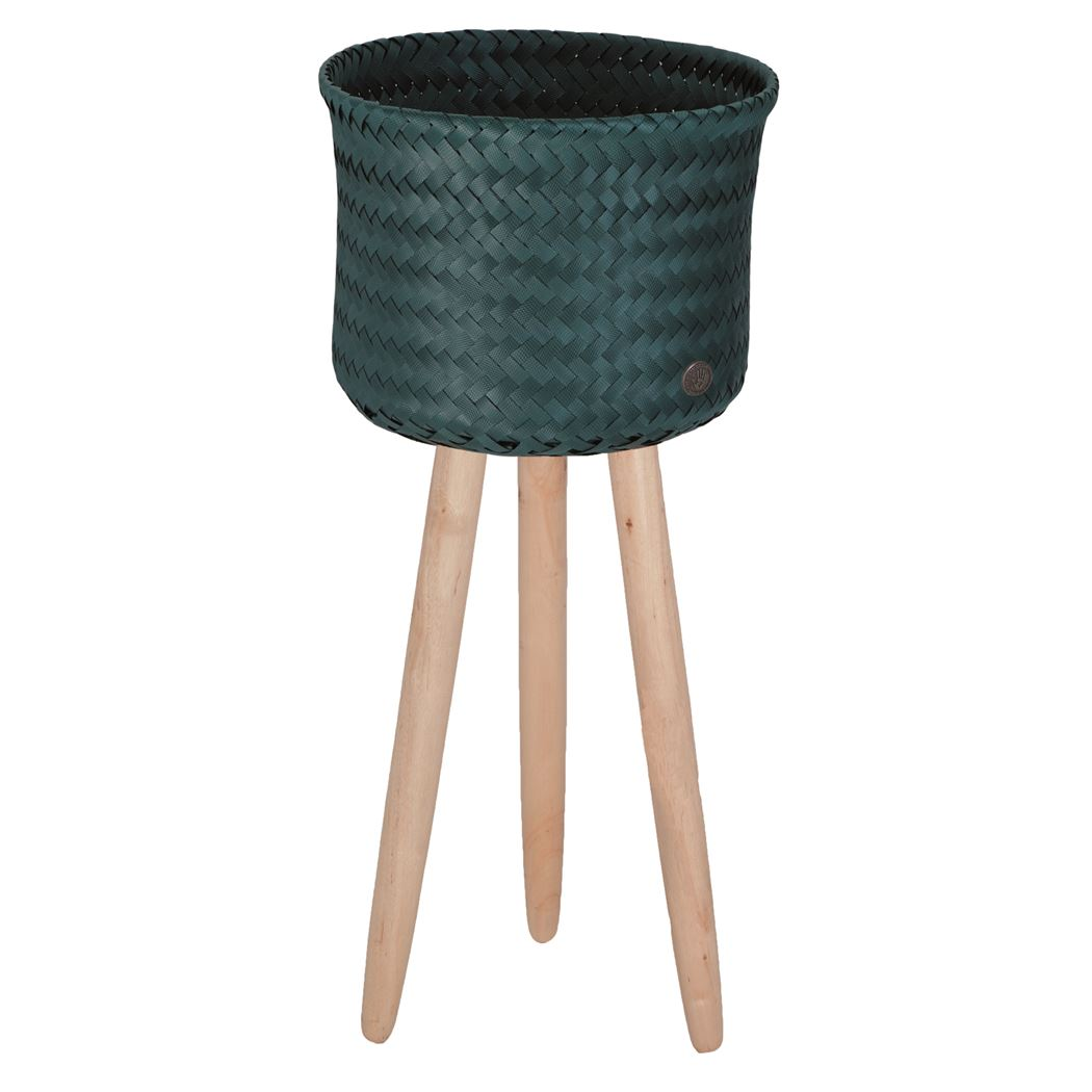 round basket with wooden feet size high blue green
