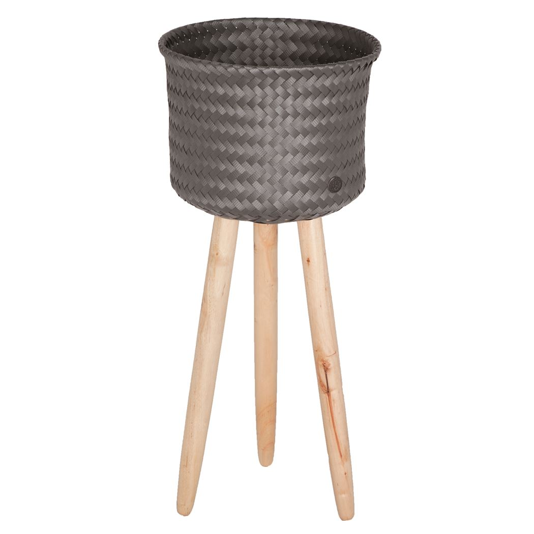 round basket with wooden feet size high dark grey