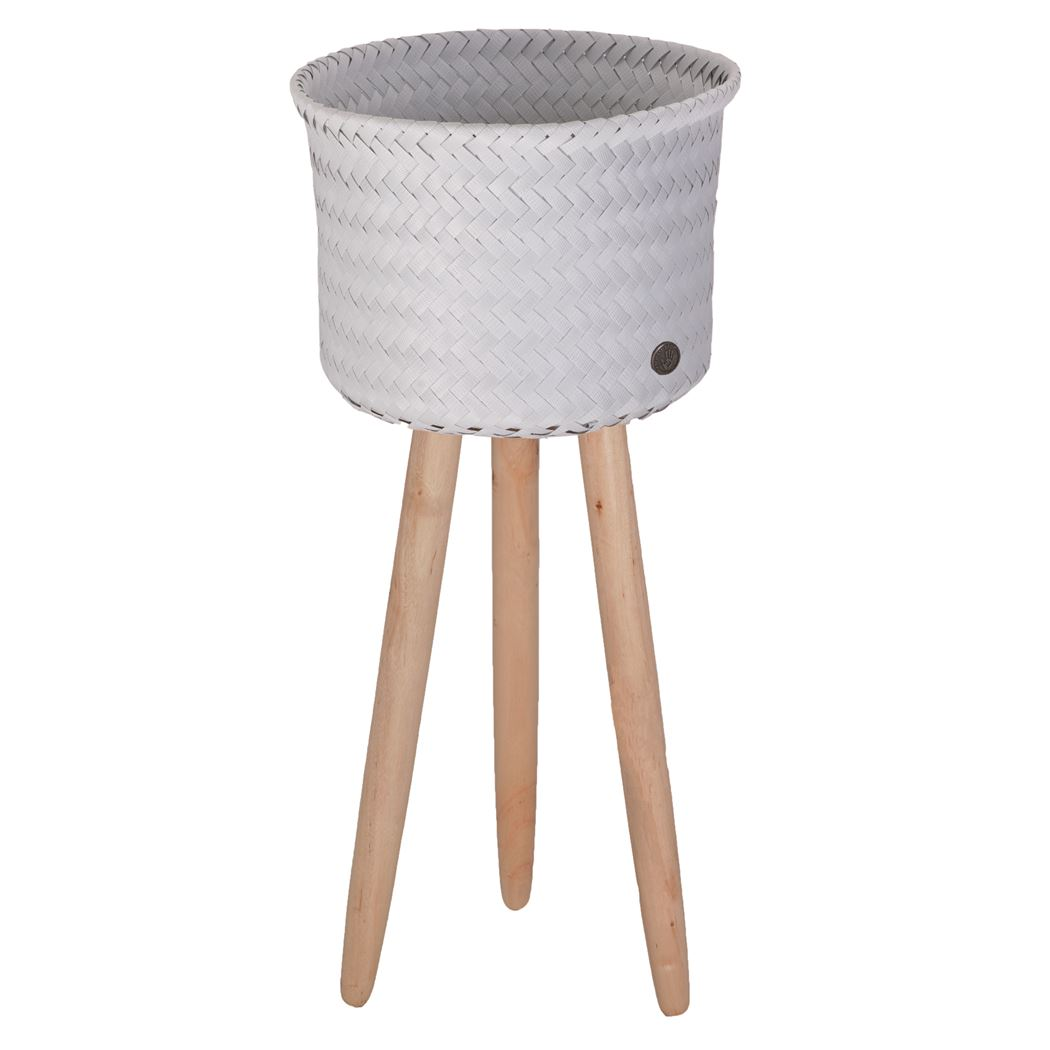 round basket with wooden feet size high flint grey