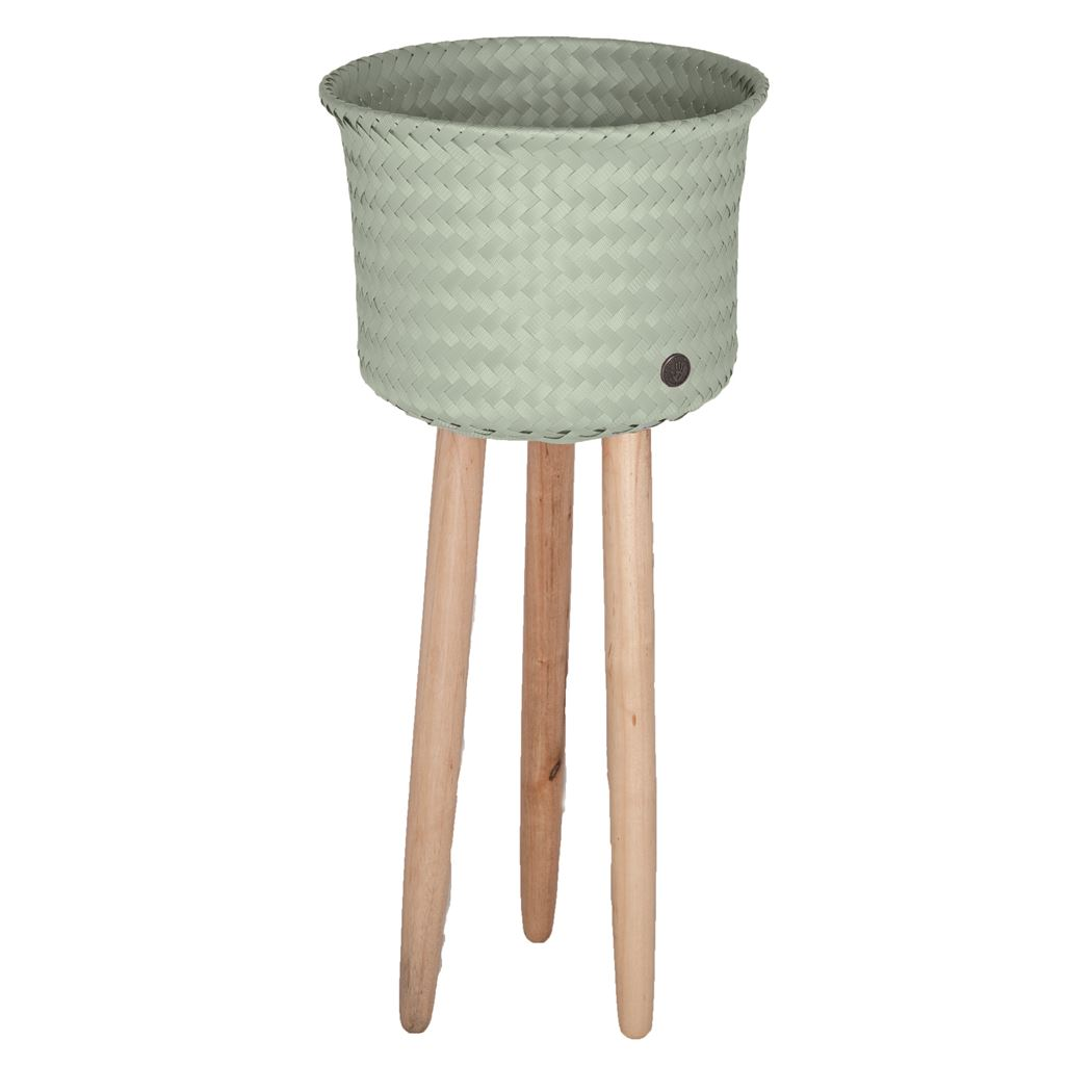 round basket with wooden feet size high greyish green