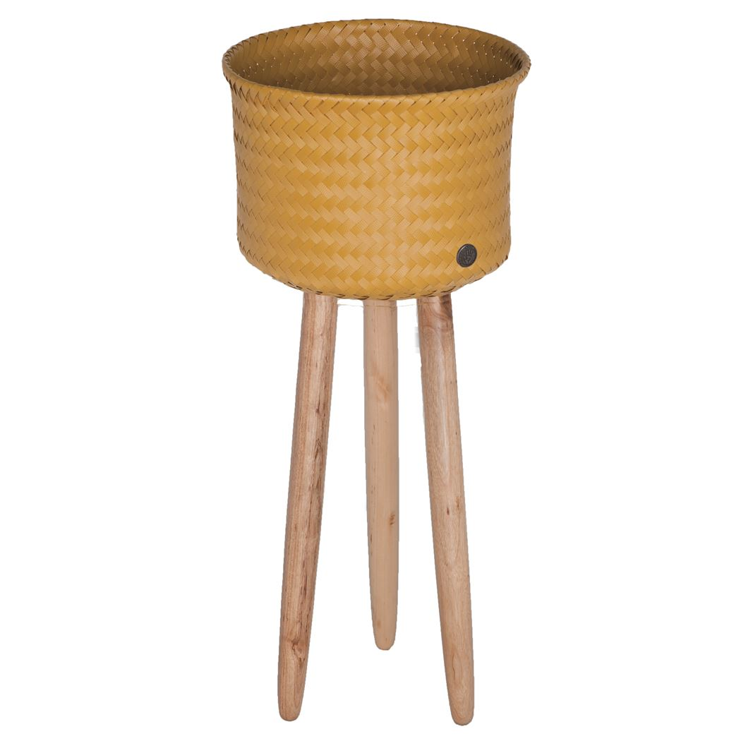 round basket with wooden feet size high mustard