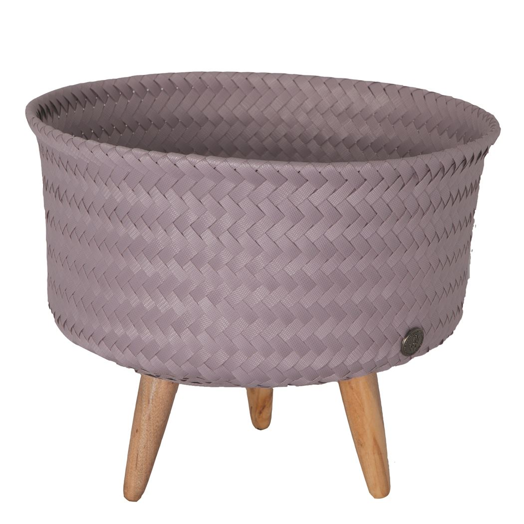 handed by up low round basket mauve with wooden feet size low