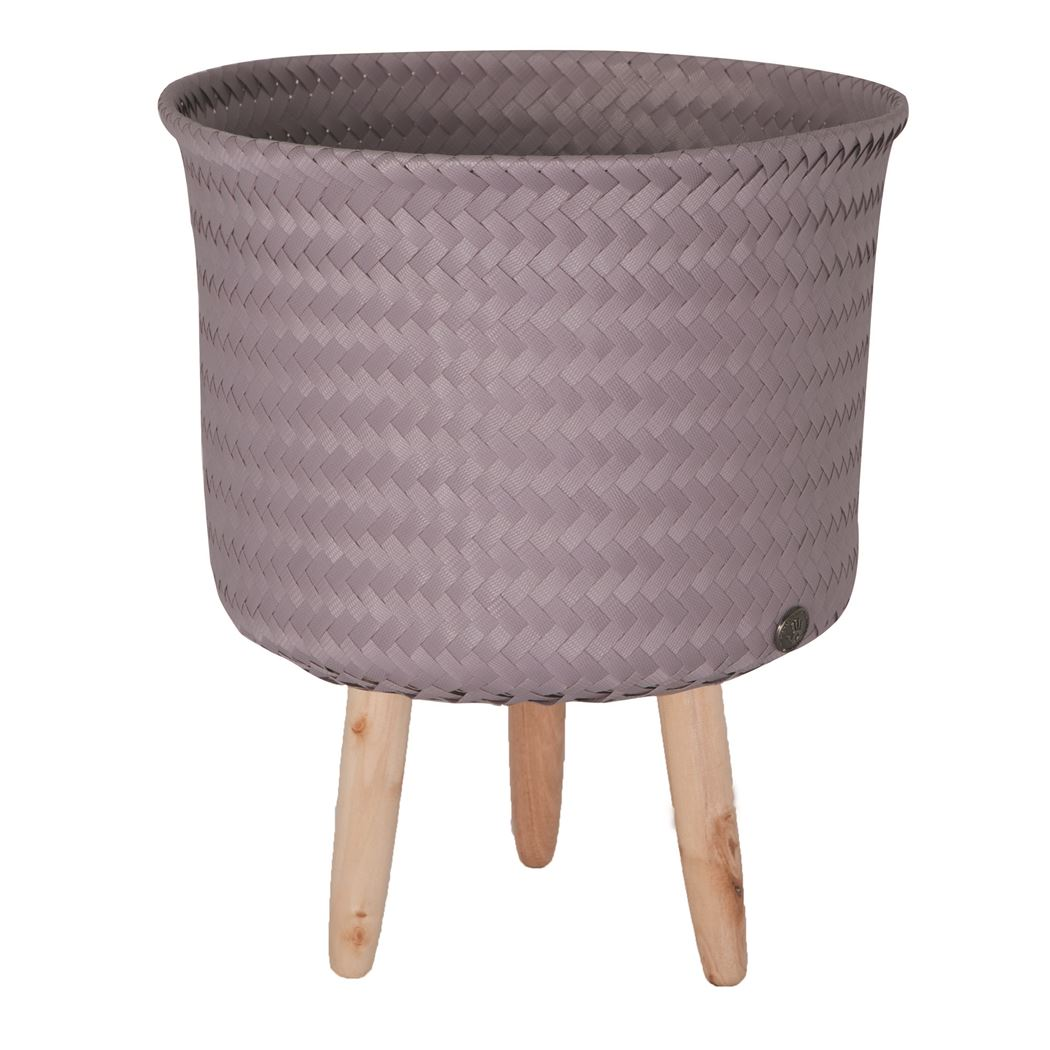 round basket with wooden feet size mid mauve